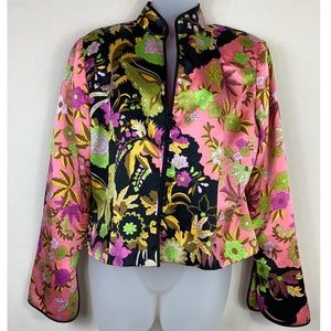 JS Collection | V-Neck Floral Silk Blazer.